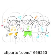Kids Sing Dance Illustration