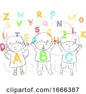 Kids Shower Alphabet Illustration
