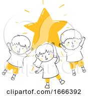 Kids Hold Shining Star Illustration