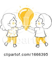 Kids Hold Light Bulb Illustration