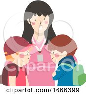 Kids Boys Student Conflict Teacher Illustration