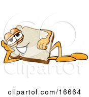 Slice Of White Bread Food Mascot Cartoon Character Reclined And Resting His Head On His Hand