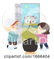Kids Door To Castle Fantasy Illustration