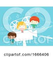 Kids Film Projector Pose Illustration