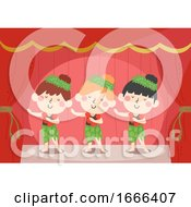 Kids Girls Dancing Stage Ethnic Dance Illustration