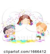 Kids Holi Powder Board Illustration