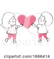 Poster, Art Print Of Kids Hold Heart Together Illustration