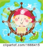 Kid Girl Pirate Map Steering Wheel Illustration