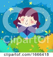 Kid Girl Read Book Night Tree Top Illustration