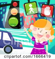 Kid Girl Traffic Signs Dangers Awareness