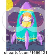 Kid Boy Read Book Space Ship Illustration