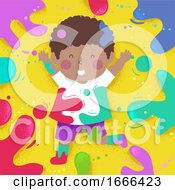 Poster, Art Print Of Kid Boy Black Colors Splats Illustration