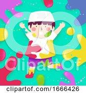 Poster, Art Print Of Kid Boy Muslim Color Splats Illustration