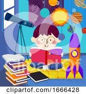 Kid Boy Read Book Space Room Illustration