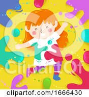 Poster, Art Print Of Kid Girl Colors Splats Illustration