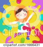 Poster, Art Print Of Kid Girl Muslim Colors Splats Illustration
