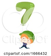 Kid Boy Balloon Number Seven Illustration
