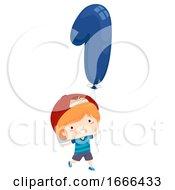 Kid Boy Balloon Number One Illustration