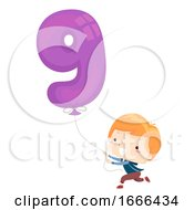 Kid Boy Balloon Number Nine Illustration