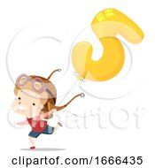 Kid Boy Balloon Number Five Illustration