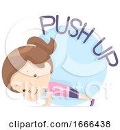 Kid Girl Exercise Push Up Illustration