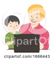 Senior Woman Kid Tutor Laptop Illustration