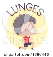 Kid Boy Exercise Lunges Illustration
