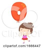 Kid Girl Balloon Number Zero Illustration