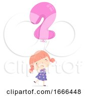 Kid Girl Balloon Number Two Illustration