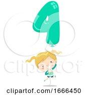 Kid Girl Balloon Number Four Illustration