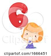 Kid Girl Balloon Number Six Illustration