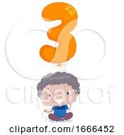 Kid Boy Balloon Number Three Illustration