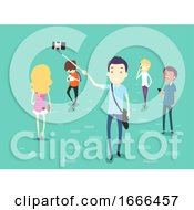 People Using Mobile Phone Walking Illustration