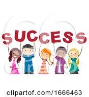 Stickman Teens Success Text Illustration