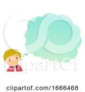 Stickman Teen Guy Thinking Cloud Illustration