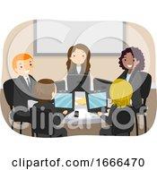 Poster, Art Print Of Stickman Group Work Laptop Illustration