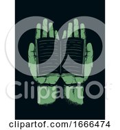 Hands Book Stencil Illustration