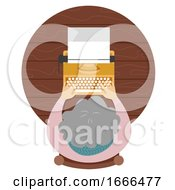 Senior Woman Typewriter Illustration