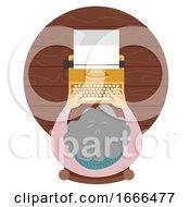 Senior Woman Typewriter Illustration