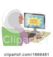 Senior Woman Find Online Job Illustration