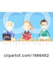 Adult Students Class Illustration