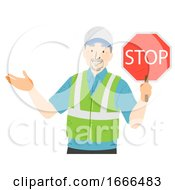 Senior Man Crossing Guard Illustration