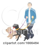 Senior Man Dogs Walk Illustration