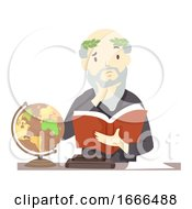 Senior Man Philosopher Think Book Illustration