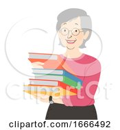 Poster, Art Print Of Senior Woman Books Librarian Illustration