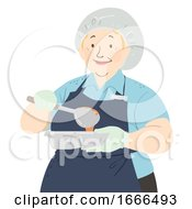 Senior Woman Cafeteria Worker Illustration