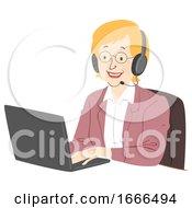 Senior Woman Call Center Illustration