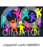 Colored People Happy Illustration