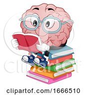 Mascot Brain Read Books Illustration