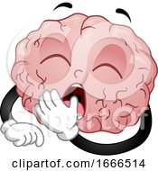 Brain Mascot Yawn Illustration